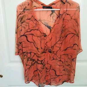 New! Gypsy Hand Painted Silk Sheer Top